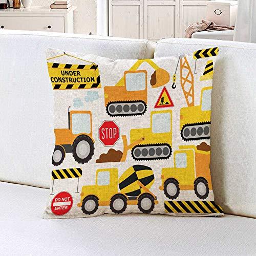oFloral Throw Pillow Cover Cartoon Construction Crew Vehicles Truck Chevron Sign Equipment Decorative Pillow Case Home Decor Square 18x18 Inches Pillowcase