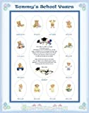 11 X 14 Size Personalized Blue Baby Boy Name Candy Hearts Border My School Years Picture Photo Mat with Teddy Bear Illustration and Poem Verse As Baby Shower, Birthday or Newborn Gift