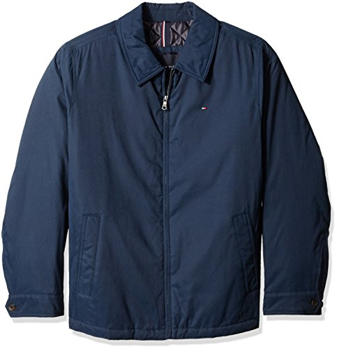 Tommy Hilfiger Men's Big Micro Twill Laydown Collar Golf Jacket, Navy, 2X Athleti