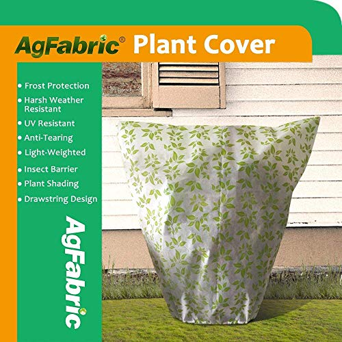 "Agfabric Warm Worth Frost Blanket – 0.95 oz H72""xW72"" Square Shrub Jacket, Plant Cover for Frost Protection with Leaves Pattern"