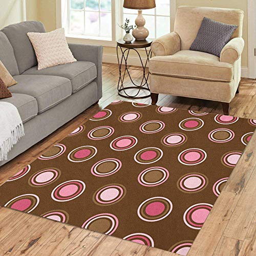 Pinbeam Area Rug Colorful Pattern Brown and Pink Polka Dot Spot Home Decor Floor Rug 5' x 7' ()