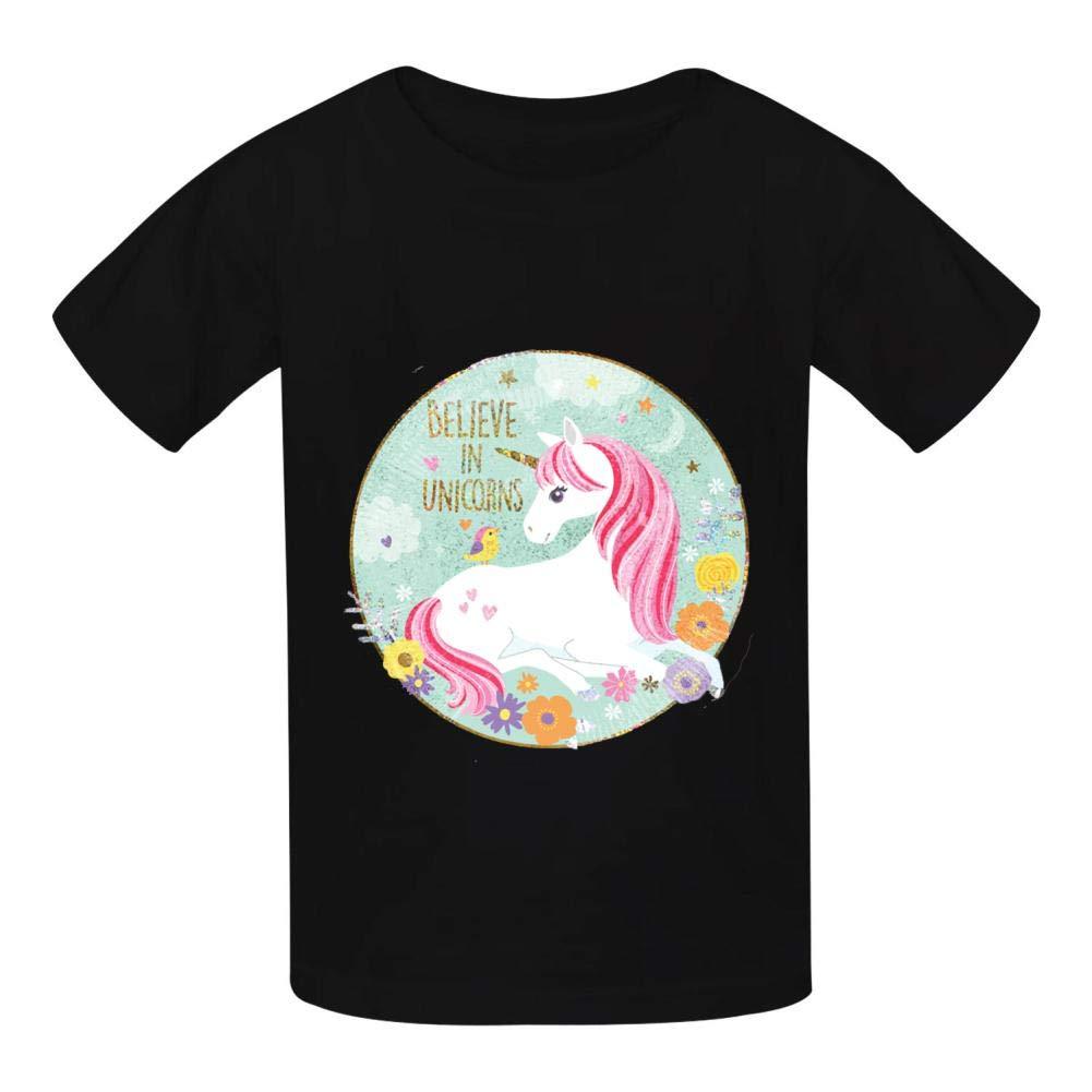 Boyshshshirts Believe in Unicorns 3D Printed Childrens Cotton t-Shirts Short-Sleeved Sport t-Shirts Boys and Girls