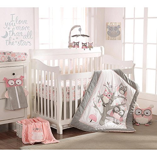 Levtex Baby Night Owl Pink 5 Piece Crib Bedding Set, Quilt, 100% Cotton Crib Fitted Sheet, 3-tiered Dust Ruffle, Diaper Stacker and Large Wall Decals ()