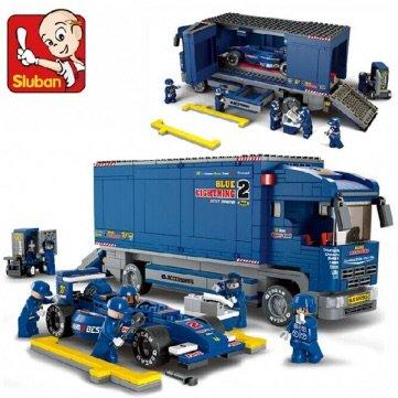 Ruban F1 Racing Derrick Cargo Truck Blocks Vehicle Cart Transporter