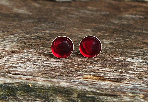 (Recycled Vintage 1940's Red Beer Bottle Sterling Silver Post Earrings )