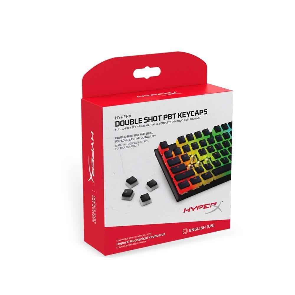 HyperX Double Shot PBT Keycaps - 104 Mechanical Keycap Set - Black & White Pudding - Durable - HyperX Mechanical Keyboard Compatible - OEM Profile - 2 Year Warranty (HXS-KBKC3)