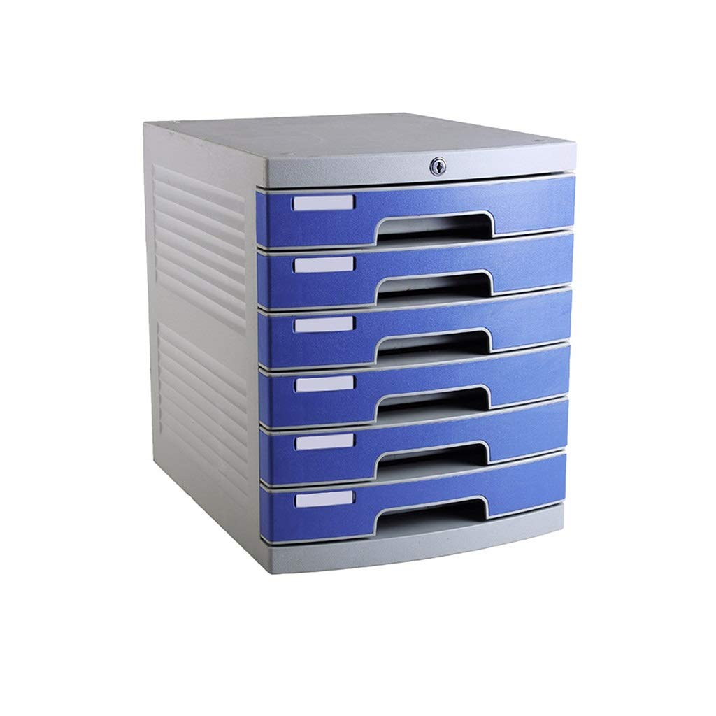 Flat File Cabinet, Drawer Organizer Lockable with Blank Label Environmentally Friendly Plastic-Blue (Size:12in15.2in14.6in) (Size : 6-Layer)