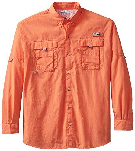 Columbia Mens Bahama II Long Sleeve Shirt, Bright Peach, X-Large Tall