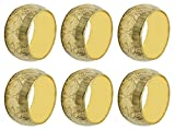 SKAVIJ Handmade Gold Napkin Rings Set of 6 Brass Floral for Home Kitchen Dining Room Table