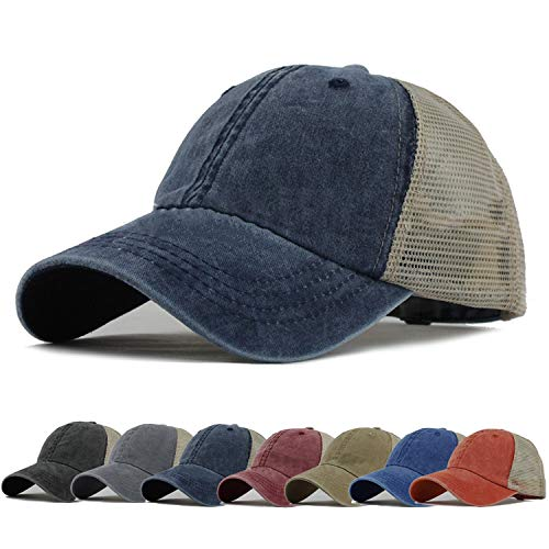 HH HOFNEN Men Women Washed Twill Cotton Baseball Cap Vintage Adjustable Dad Hat (#3 Navy Trucker Hat)