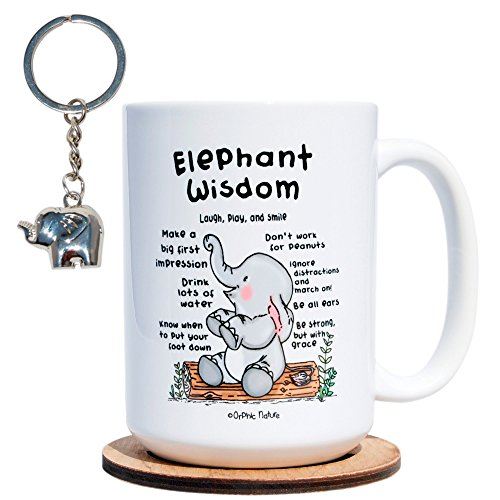 Funny Mug with Keychain and Coaster Bundle - Elephant Wisdom - 15 ounce Inspirational Elephant Mug for any Relephant Occasions. Laugh with Friends, Family and Coworkers. They won't forget this one.