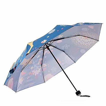 AchidistviQ - Mini Paraguas de Verano Plegable con diseño de Ciervo y Dibujos Animados para Mujer