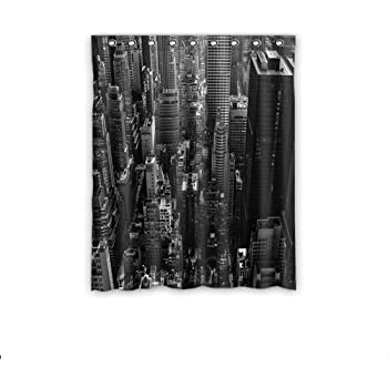 Creative decorative skyline black and white Blackout curtains city skyline