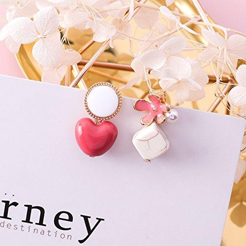 - High-Season MENGJIQIAO 2018 New Korean Fashion Accessories Square Heart Stone Asymmetric Earrings For Women Sweety Flower Drop Brincos (Pink)