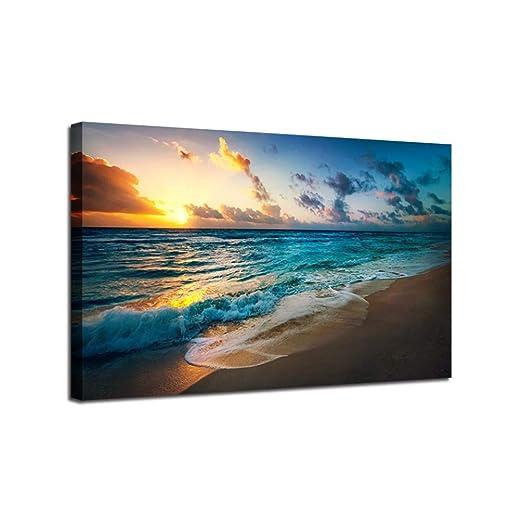 w15Y8 Sunset Beach Paisaje Marino Pinturas Arte de la Pared ...