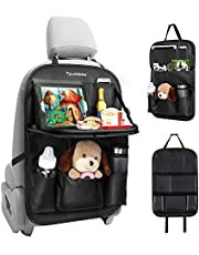 Tsumbay Car Organizer, Mutifunctional Car Seat Organizer with 9 Pockets, Foldable Tray Table, Tablet Holder, PU Leather Seat Back Protector Kids Kick Mat Car Storage Organizer for Parents Kids Drivers-1 Piece
