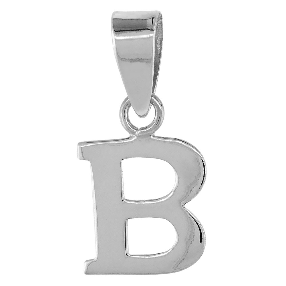 16-30 inch 0.8mm Box/_Chain 1//2 Inch Small Sterling Silver Block Initial B Necklace Alphabet Letters High Polished