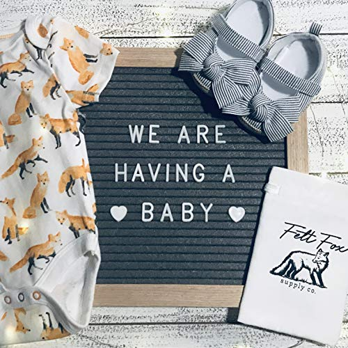 Announcement Letter - Felt Letter Board 10x10 Baby Announcement Board with Letters Baby Announcement Sign Office Decorations Cute Office Supplies - Fox Baby Shower Decorations Gray Office Supply Word Board with Letters