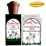 Zombie Plant Party Favors (2) or Birthday Gift Plays Dead When Touched. Includes Soil, Seeds & Mini Flower Pot. Supplies for Zombie Themed Event. Plant it as a Party Activity