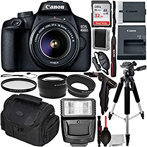 51UxeUUuDbL. SS300  - Canon EOS 4000D DSLR Camera with 18-55mm III Lens & Essentials Accessory Bundle – Includes: SanDisk Ultra 32GB SDHC…