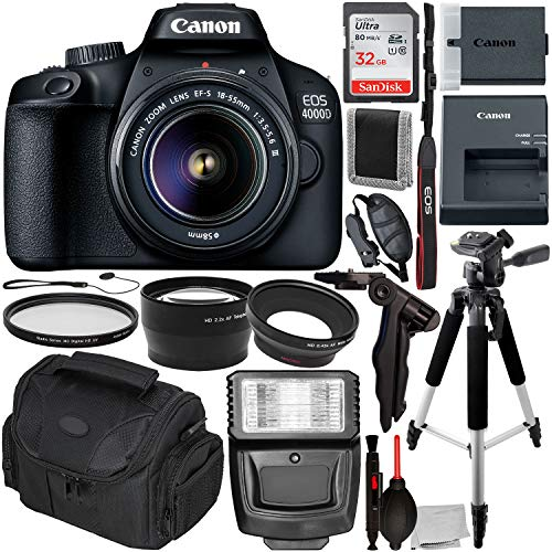 Canon Eos 400d Slr - Canon EOS 4000D DSLR Camera with 18-55mm III Lens & Essentials Accessory Bundle - Includes: SanDisk Ultra 32GB SDHC Memory Card + Wide Angle Lens Attachment + Telephoto Lens Attachment + More