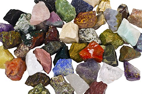 Exotic Stone - 3 lbs of a Bulk Rough Asia Stone Mix - with 40 Exotic Stone Types - Large 1
