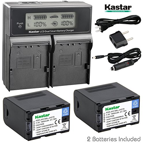 Kastar LCD Dual Fast Charger & Battery 2x for JVC SSL-JVC70 SSL-JVC75 BN-S8I50 GY-HMQ10 GY-LS300 GY-HM200 GY-HM200HW GY-HM200U GY-HM600 GY-HM600E GY-HM620U GY-HM650 GY-HM650SC GY-HM650U GY-HM660SC by Kastar