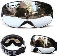 Unisex Windproof Ski Goggles Double Lens Anti-Fog Big Spherical Snow Goggles