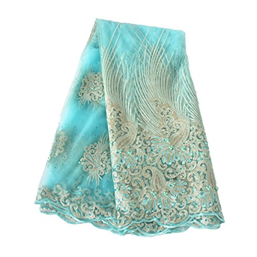 Quality Rhinestone - Aisunne 5 Yards African Lace Fabrics Classics Nigerian French Lace Fabric With Fashion Rhinestones and Embroidered Beading For Wedding Party Dresses (Light Blue)