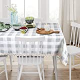 VIMOO Buffalo Plaid Tablecloth Spillproof Water Resistant Washable Table Cover with Crocheted Lace Border, Kitchen Wedding Restaurant Party Picnic Indoor Outdoor Use(Light Gray,Rectangle - 52' x 70')