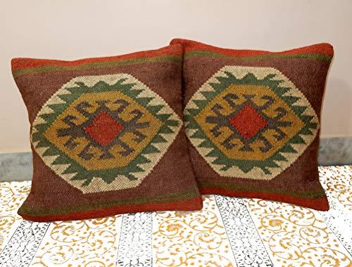 2 PC Vintage Kilim Pillow Cover Wool Jute Euro Sham Handwoven Cushion Cover Boho