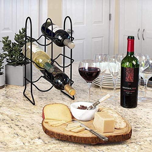 Aanrechtblad Wijn Rack, Keuken Organizer & Wijn Fles Opslag, Perfect voor Wijnkelder & Home Bar Organisatie, 6 Houder, Zwart