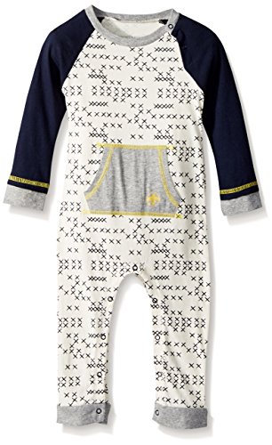 Burt's Bees Baby Baby Boys' Romper Jumpsuit, 100% Organic Cotton One-Piece Coverall, Eggshell Cross Stitched, 18 Months