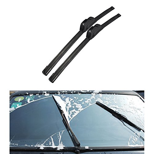 "All Seasons Heavy Duty Front Rubber Windscreen Wiper Blades Flexible Durable Easy Installation Replaces J Hook (15""&26"")"