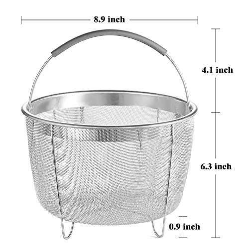 Aozita Steamer Basket for Instant Pot Accessories 8 Qt - Stainless Steel Steam Insert with Premium Silicone Handle for 8 Qt Pressure Cookers - Vegetables, Eggs, Meats, etc by Aozita (Image #1)