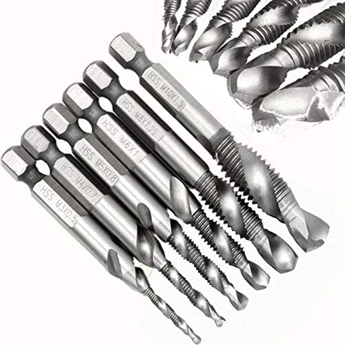 Jiyou 1//4 Hex HSS High Speed Steel Thread Spiral Screw M3 M4 M5 M6 M8 M10 Metric Composite Tap Drill Bit Tap 6pcs//Set