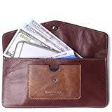 Borgasets Women's Wallet Leather RFID Blocking Ultra-thin Envelope Ladies Purse Travel Clutch with ID Card Holder and Phone Pocket (Reddish brown)