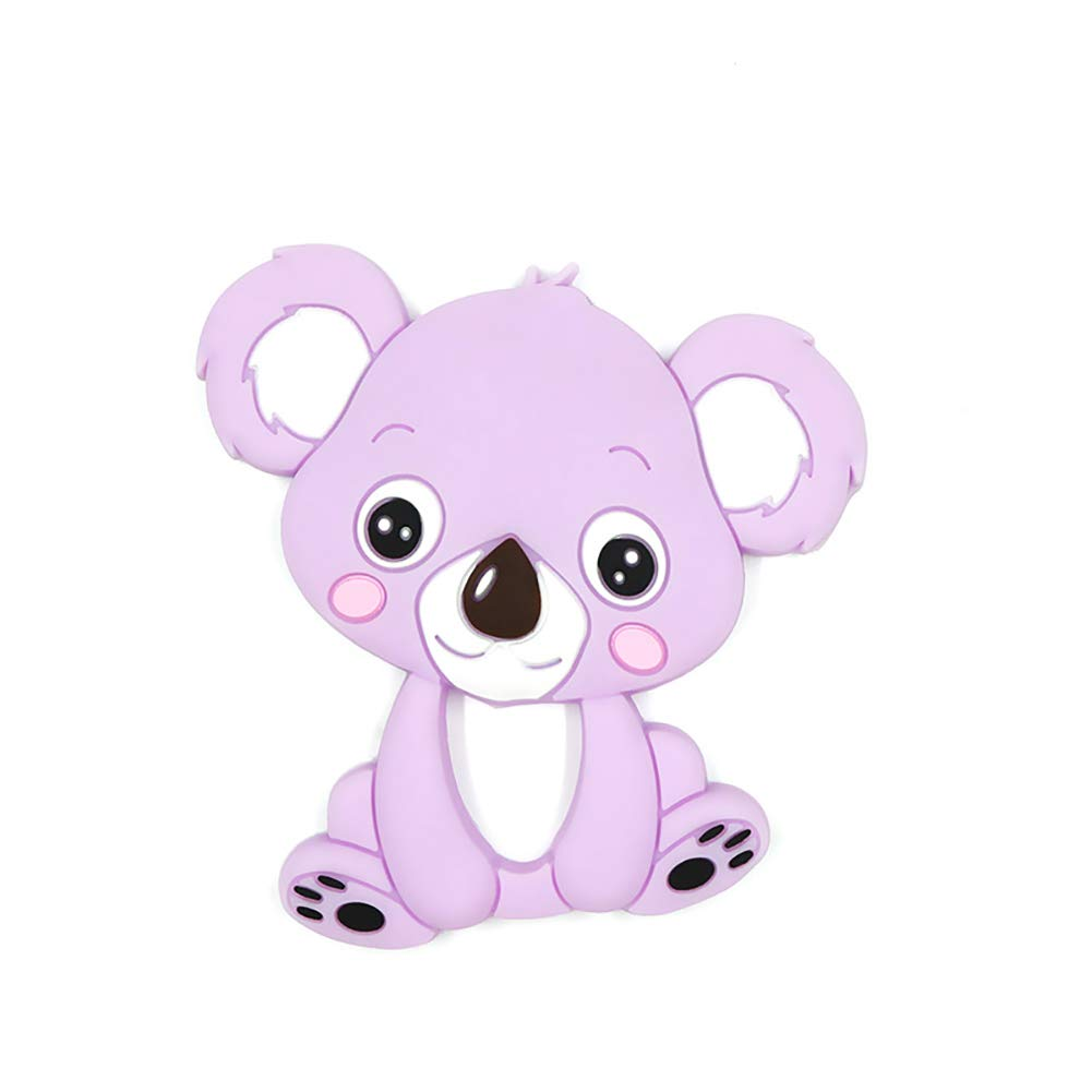Dentici/ón del beb/é juguetes de dibujos animados de koala de silicona Molar Juguetes beb/és dentici/ón masajeador Teethers regalo ideal juguete para el beb/é reci/én nacido p/úrpura