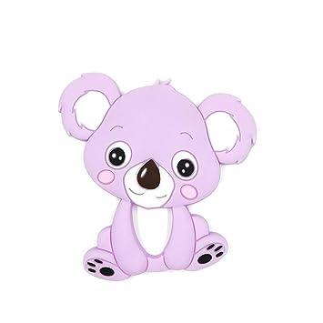 Molar juguete de silicona Mordedor 1pcs de dibujos animados de koala animal para el bebé (púrpura)