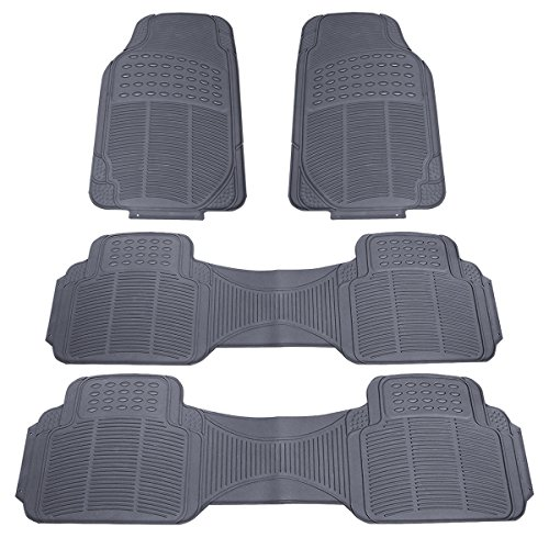 ZYY Universal Fit Front/Rear Premium Minivan Trimmable All Weather Car Floor Mat - Rubber (Grey, 4 Piece