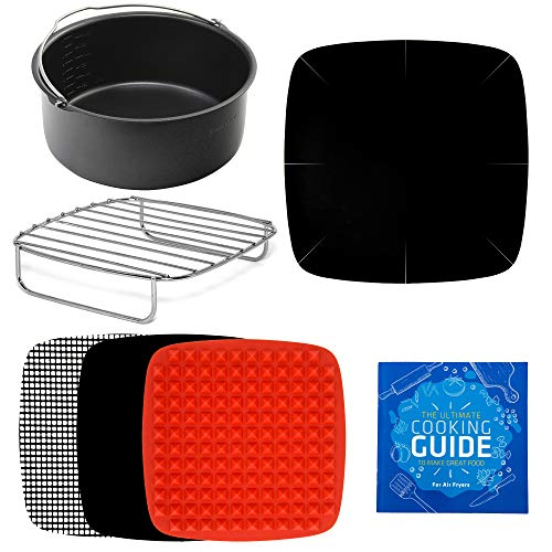 Air Fryer Accessories + Rack & Pan Compatible with Philips, NuWave Brio, Chefman, Gourmia, Emerald, Power Airfryer, Elite, Secura, Tidylife, COSORI, Black Decker +More by Infraovens (Small to Medium)