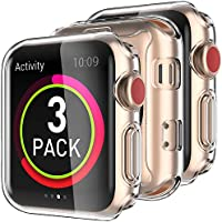 Delidigi 3 Pack High Clear iwatch Case Screen Protector TPU All Around Shockproof Case Compatible with iWatch 38mm 42mm...