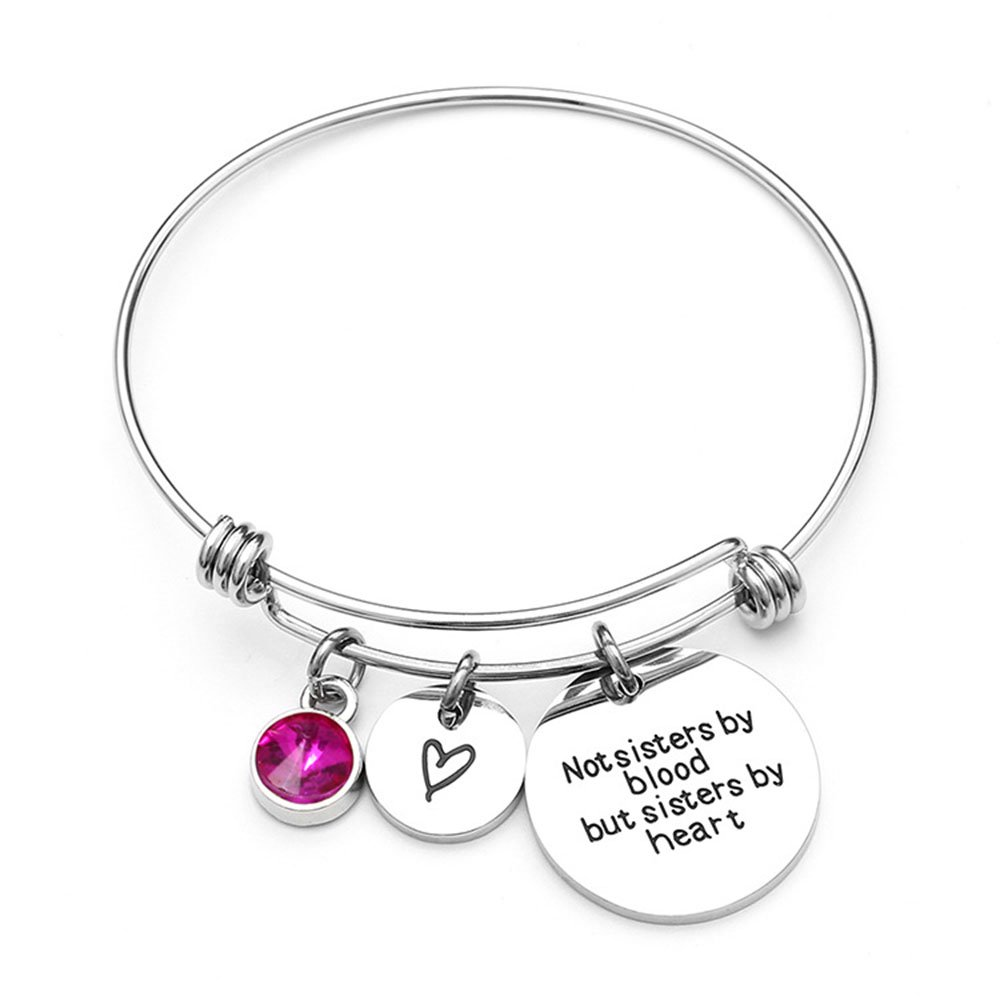 Not sisters by blood but sisters by heart Bracelet /& Keychain 316L Stainless Steel Engraved Message Jewelry Set