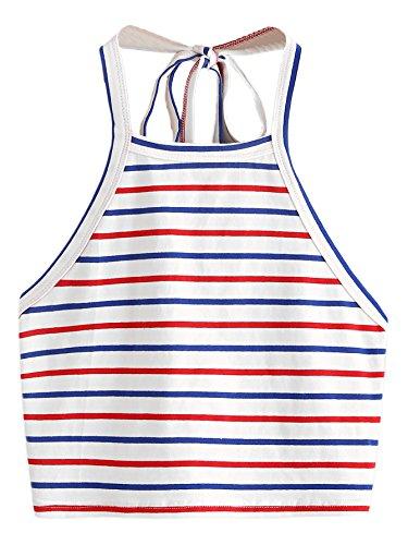 Romwe Women's Striped Halter Self Tie Crop Top Vest Cami Multicolor -
