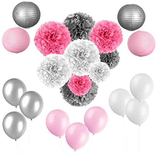Pink and Silver Party Decoration - Baby Shower And Birthday Decorations for Girls and Women - 22 Pcs Tissue Flowers Pom Poms Paper Lanterns Baloons - Teen, 1st Birthday, Kids - Silver Pink And