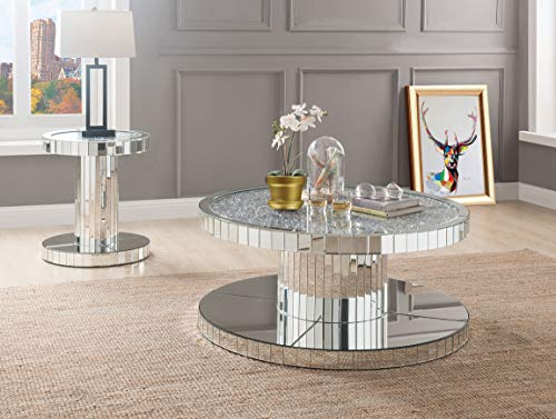 Acme Furniture Industry, INC Coffee Table in Mirrored and Faux Stones