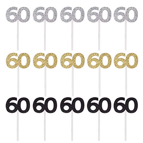 (Qibote 36 Pieces Glitter Number 60 Cupcake Toppers for 60th Birthday Cupcake Decoration 60 Birthday Party)