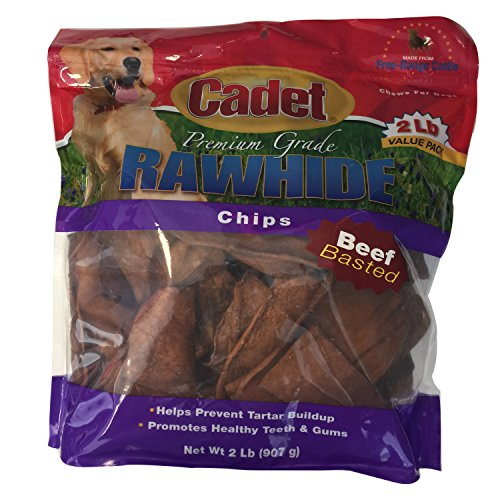 Cadet Premium Grade Rawhide Basted Chips Value Pack, Beef, 2 Pound (Beef Basted Chips)