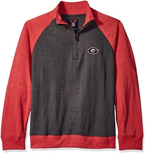 NCAA Georgia Bulldogs Men's Dexter Rib Pullover, Black/Red, Medium (Georgia Square Logo)