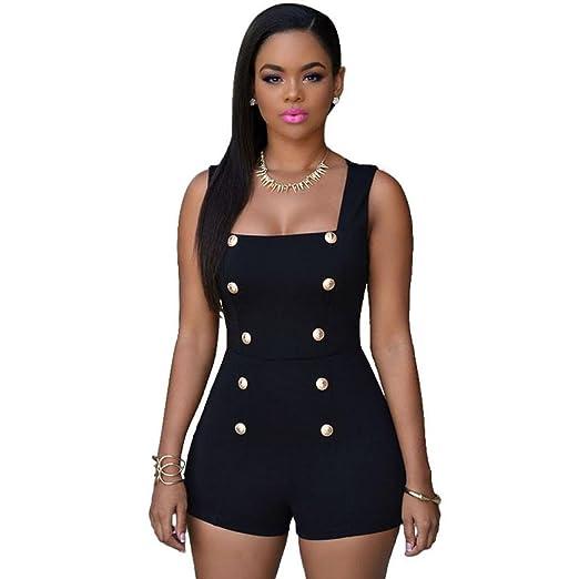 762fdf22eb Women s Summer Casual Button Front Sleeveless Beach Romper Jumpsuit Back  Zipper Mini Playsuit (S